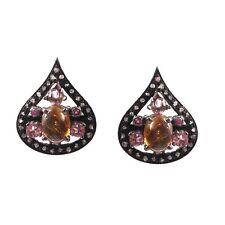 Natural Tourmaline Gemstone Earring With Pave Diamond 925 Starling Silver18x14