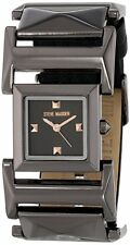 Steve Madden Women's Black Faux Leather and Pyramid Link Strap Watch 0275