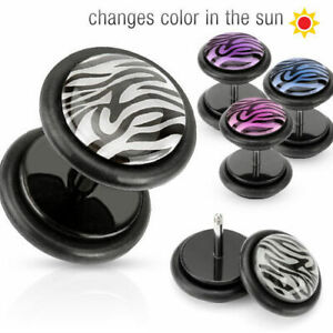 Fake Plug Tiger Pattern Made of Surgical Steel 316L U.Plastic Colourful Studs