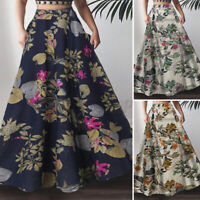 ZANZEA Women Vintage Floral Long Maxi Skirt Bohemia Swing Dress HolidayBeach US