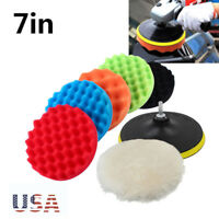 "7PC 7"" Polishing Sponge Waxing Buffing Pad Compound Auto Car Polisher Drill 30MM"