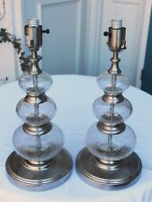 Pair (2) Thomas O'Brien Brushed Nickel & Crackle Glass Orbs Table Lamps