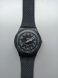 SWATCH Watch Vintage 1990's Solar Quartz Watch Black WORKING With Box