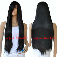 75cm 30 inch High-Heat Resistent Long Black Straight Cosplay Party Hair Wig