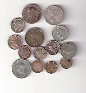 14 SILVER MIXED WORLD COINS