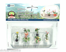 "JTT SCENERY 95570 ASSORTED POTTED FLOWER PLANTS 3  O SCALE  1"" HIGH   6/PK"