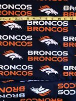 """Denver Broncos 100% Cotton Fabric - Sold By 1/2 Yard 18"""" x 58"""""""
