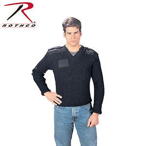 Rothco G.I. Type Wool V-Neck Sweater Black # 6344