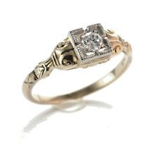 Art Deco diamond Ring 14k Yellow & White Gold Size 6