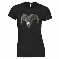 Ram Face Womens TShirt Cool Horned Goat Head Happy Grazing Animal
