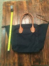 Linea Pelle Large Canvas Leather Tote Green Used Nice Look !