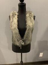 BKE Women's Tie Gray Faux Fur Crochet Back Boho Sleeveless Vest Cardigan Size S