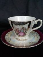 VINTAGE JAPAN VICTORIAN COUPLE Porcelain/Gold Crown Eubeem IRIDESCENT CUP&SAUCER