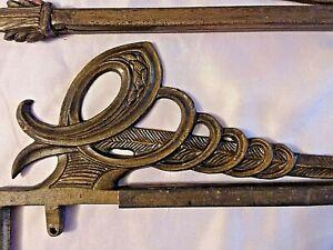 Pair Antique Vintage Art Nouveau Swing Arm Metal Curtain Rods, No Hardware #2
