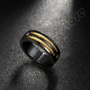 Unisex Cool Band Ring Titanium Steel w/18KGP Gold Rope Screw Thread Size 7,8,9