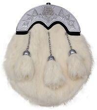pour hommes écossais KILT SPORRAN Costume complet lapin blanc CHARDON/kilt