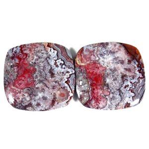 42.70Cts. 21X22X4mm 100% Natural Crazy Lace Agate Cushion Cab Rare Pair Gemstone