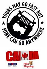 4X4 YOURS MAY GO FAST MINE CAN GO ANYWHERE Truck Off-road AWD Car Sticker Black