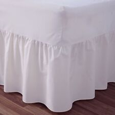 "24"" Deep Luxury Plain Dyed Non-Iron Percale Cotton King Bed Valance Sheet White"