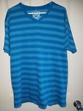 Red Camel Cerulean Blue Striped V-Neck Tee Shirt, Mens XL.  *Free Shipping*