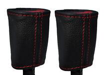 RED STITCH 2X SEAT BELT STALK LEATHER SKIN COVERS FITS KIA SOUL 2009-2014
