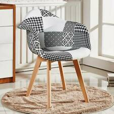 Tulip Chrono Patchwork Monochrome TUB Fabric Dining Arm Chair Seat Vintage Retro