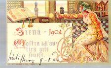 Riproduzione Cartolina Commemorative 1904 Mostra antica arte senese Magrini