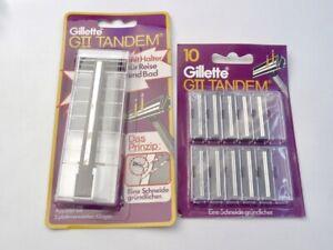 GILLETTE G2 Vintage Original GII Rasierer TRAC 2 TANDEM Metal Razor+ 15 Blades!!