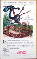 1930s Coca-Cola/Coke 'World of Nature' Card: SNAKES, Good and Bad