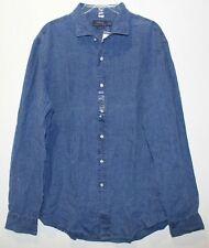 Polo Ralph Lauren Blue Long Sleeve 100 Linen Shirt Sz M