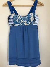 Lululemon Women's SZ 6 Back On Track Tank Top Beaming Blue Laceoflage Paisley