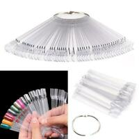50PC SET POLISH NAIL RING ART TIPS CLEAR FALSE COLOUR STICK DISPLAY FAN PRACTICE