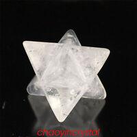 1.5''Natural clear quartz merkaba star skull quartz crystal gem carved reiki 1pc