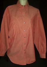 LIZ CLAIBORNE Womens Long Sleeve Pearl Button Western Rodeo Shirt Sz XL Orange