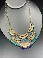 """Vintage Statement Necklace Silver With Aqua And Shades Of Blue Dangle Beads 16"""""""