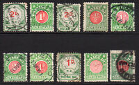 New Zealand 10 Early Postage Due Stamps Mounted Mint and Used (few faults)(7378)