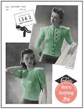 1940s Ribbed Twin Set Vintage Knitting Pattern Copy