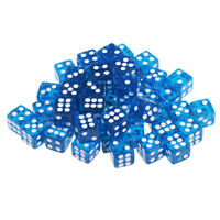 50pcs/lot 12mm D6 Acrylic Dice Toy Pack for RPG MTG Game Accessories Blue