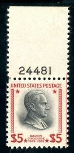 USAstamps Unused FVF US 1938 $5 Presidential Plate # Scott 834 OG MNH