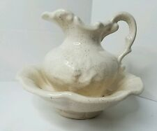 McCoy USA Pottery Pitcher Wash Basin Bowl Beige Brown Speckled EUC Small