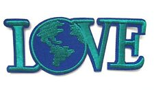 Love World Sign Iron On Patch- Peace Badge Hippy Globe Embroidered Applique Sew