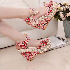 Women Boho Beach Sandals Floral Wedge Heels Summer High Platform Open Toe Shoes
