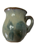 Pottery Mugs Set Of Two Mugs Flared Lip Green Blue Brown Glaze