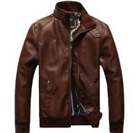 Stylish New Men's Slim Tops  PU Leather Long Sleeve Short Jacket Coat Outwear