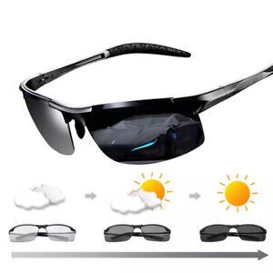 Aluminum Polarized Photochromic Sunglasses Mens HD Sports Outdoor Eyewear UV400