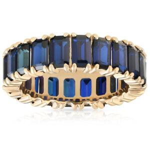 5X3mm Imitation Blue Sapphire Emerald Cut Eternity Ring Solid 10k Yellow Gold
