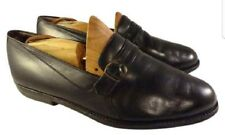 Bally shoes black leather loafers monk slip ons  9.5 3E extra wide italiian