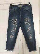 Women's Topshop Boyfriend HAYDEN Blue Ripped Loose Cropped Jeans Size 12 W30 L30