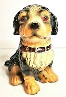 Vintage Black & Brown Ceramic Dog with Collar Bank Very Good Condition