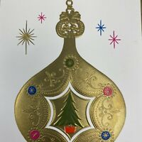 Vintage Mid Century Christmas Greeting Card Gold Embossed Ornament Hot Pink